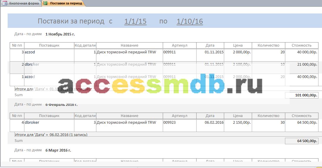 Отчёт «Поставки за период». Скачать базу данных access «Фирма по продаже запчастей».