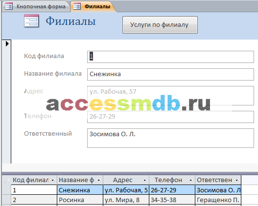 Форма «Филиалы». Скачать пример готовой базы данных Химчистка.