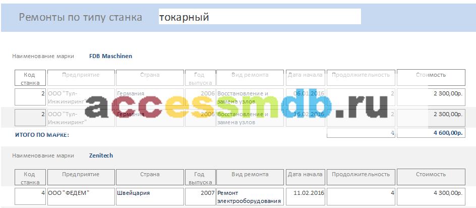 Скачать базу данных access Техническое обслуживание станков. Отчёт «Ремонты по типу станка».