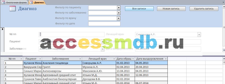 """Форма """"Диагноз"""" базы данных «Поликлиника». Download."""