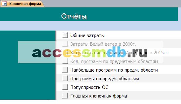 Страницы «Отчёты» главной кнопочной формы готовой базы данных «Программные продукты».