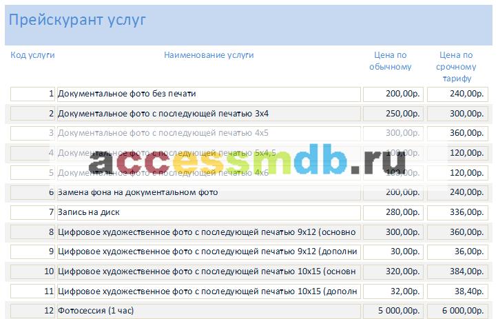 Готовая база данных access Фотоателье. Отчёт «Прейскурант услуг»