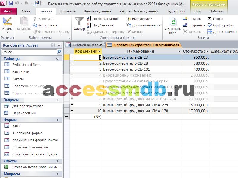 Таблица «Справочник строительных механизмов». Готовая база данных access.