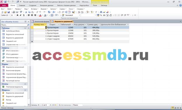 Готовая база данных access. Структура таблицы «Ведомость удержаний»: номер месяца, отдел, табельный номер, код удержания, сумма удержано.