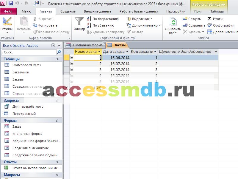 Таблица «Заказы». Готовая база данных access.