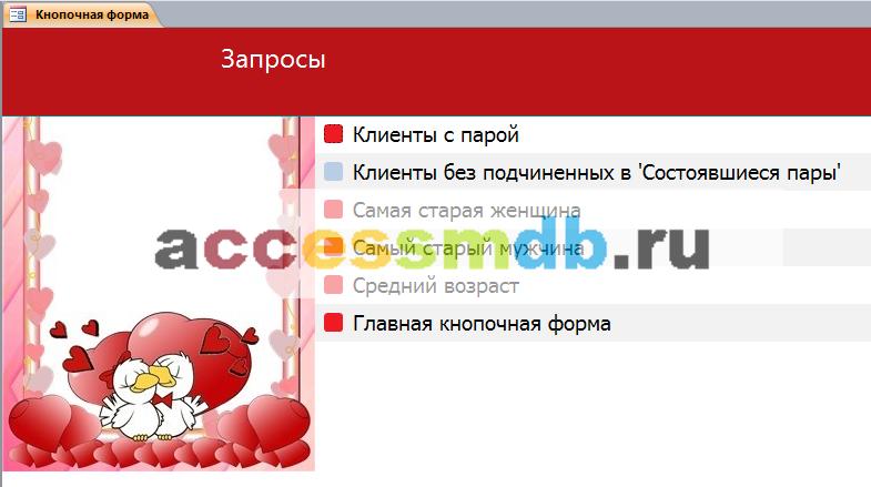 Вкладка «Запросы». Пример базы данных access.