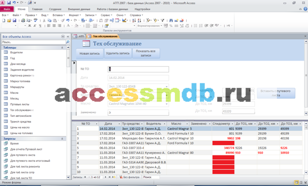 Форма Техобслуживание готовой базы данных АТП access. Диплом access.