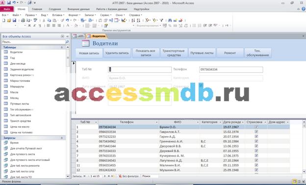 Форма Водители готовой базы данных АТП access. Диплом access.