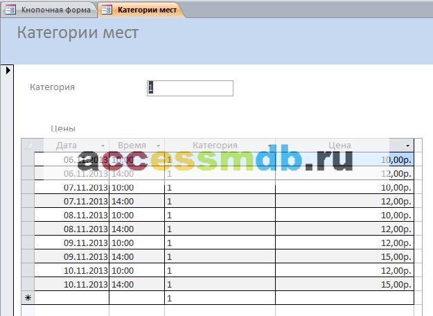 Форма Категории мест базы данных Кинотеатр.